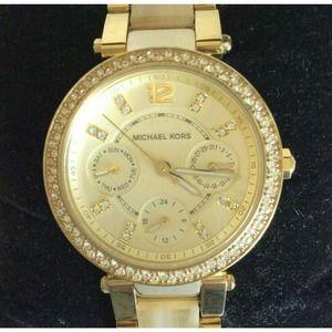 Michael Kors Parker Gold Watch Crystal Pave Horn